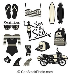 Beach style. Surfer girl retro vector set. Vintage surf...