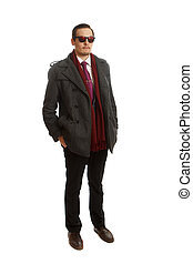 Formal wear and sunglasses - A male in formal wear with red...