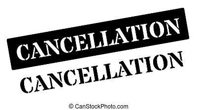 Cancellation black rubber stamp on white. Print, impress,...