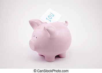 Pink piggy bank with IOU note - Pink piggy bank with IOU...