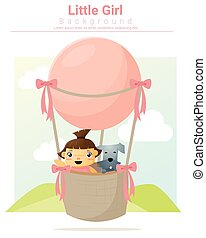 Little girl riding hot air balloon
