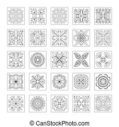 Floral pattern collection Doodle flower Decorative element...