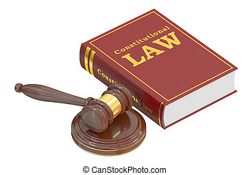 Constitutional Law concept with gavel. 3D rendering