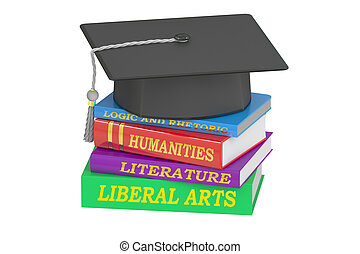 Liberal Arts Education, 3D rendering isolated on white...
