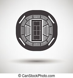 Tennis stadium aerial view icon on gray background with...