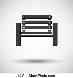 Tennis player bench icon on gray background with round...