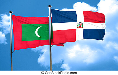 Maldives flag with Dominican Republic flag, 3D rendering