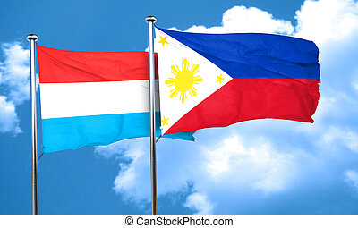 Luxembourg flag with Philippines flag, 3D rendering