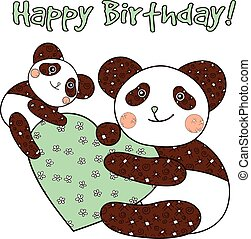 Panda with heart happy birthday card. - Panda with heart...