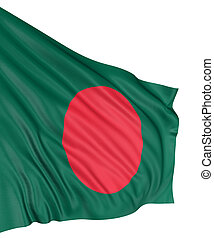 3D Flag of Bangladesh with fabric surface texture. White...