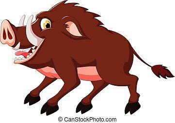 Wild boar cartoon - vector illustration of Wild boar cartoon