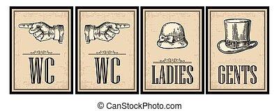 Toilet retro vintage grunge poster. Ladies, Cents, Pointing finger.  Vector vintage engraved illustration on a beige background.  For bars, restaurants, cafes, pubs