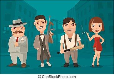 Set person Mafia Don, capo, soldier, prostitute - Vector...