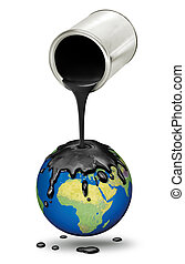 Pouring oil over dripping planet Earth - Black oil poured...