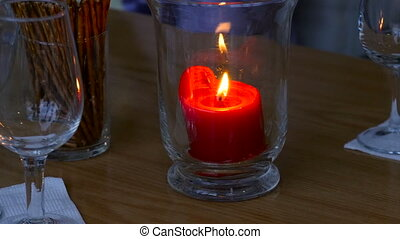 Candle burning in a glass