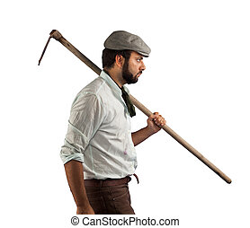 Farmer of the late nineteenth century on white background