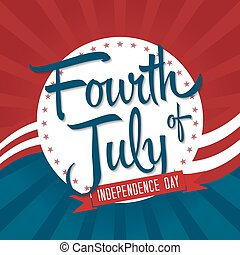 Fourth of July Vector Illustration with Badge and Stars.