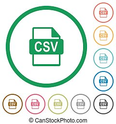 CSV file format outlined flat icons - Set of CSV file format...