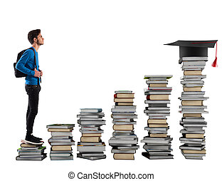 Degree goal - Boy climbing the stairs made of books
