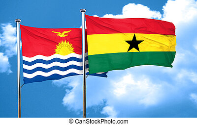 Kiribati flag with Ghana flag, 3D rendering