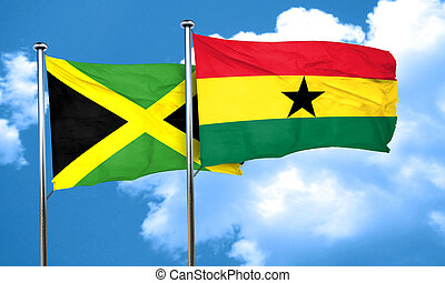 Jamaica flag with Ghana flag, 3D rendering
