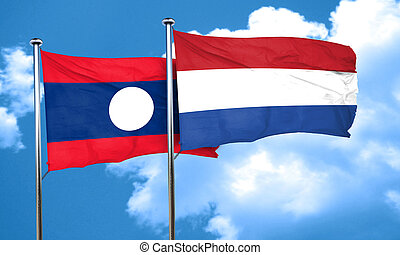 Laos flag with Netherlands flag, 3D rendering