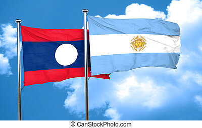 Laos flag with Argentine flag, 3D rendering