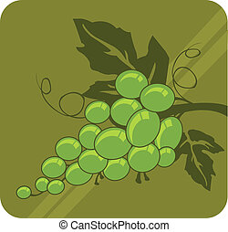Grapes - A bundle of grapes with two leaves and tendrils.