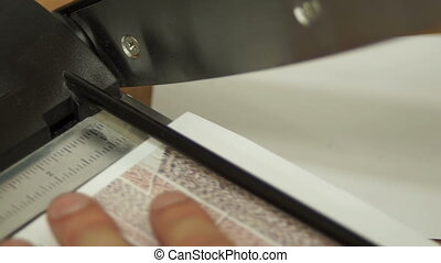 Cutting Picture Guillotine Macro - Close up macro shot of an...