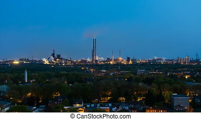 Heavy Industry At Night Time Lapse - Timelapse sequence of a...