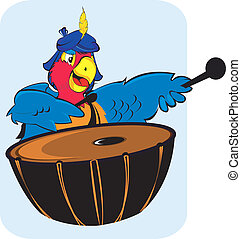parrot	 - Parrot playing drum.