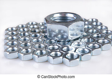 metal shine nuts on white background