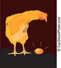 Hen - The hen wondered by seeing her egg