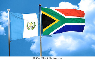 guatemala flag with South Africa flag, 3D rendering