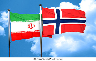 iran flag with Norway flag, 3D rendering