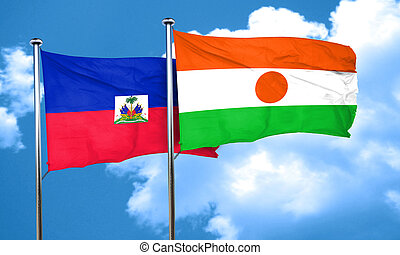 Haiti flag with Niger flag, 3D rendering
