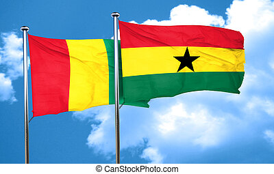 Guinea flag with Ghana flag, 3D rendering