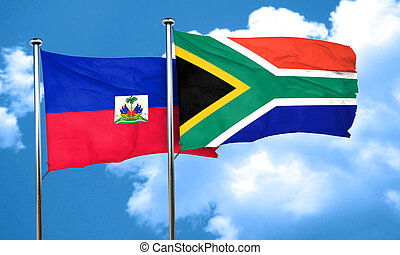 Haiti flag with South Africa flag, 3D rendering