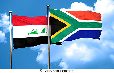 Iraq flag with South Africa flag, 3D rendering
