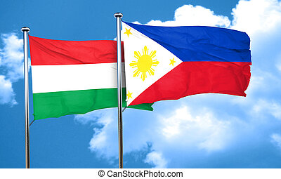 Hungary flag with Philippines flag, 3D rendering
