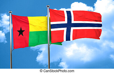 Guinea bissau flag with Norway flag, 3D rendering