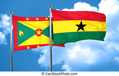 Grenada flag with Ghana flag, 3D rendering
