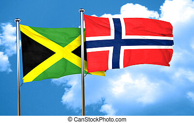 Jamaica flag with Norway flag, 3D rendering