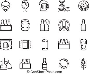 Line Beer Icons - Simple Set of Beer Related Vector Line...