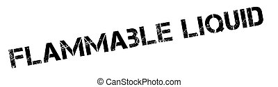 Flammable liquid black rubber stamp on white. Print,...