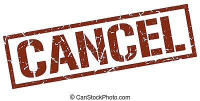 cancel brown grunge square vintage rubber stamp