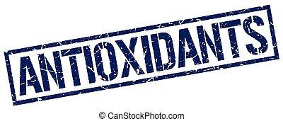 antioxidants blue grunge square vintage rubber stamp