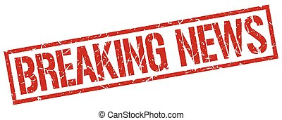breaking news red grunge square vintage rubber stamp