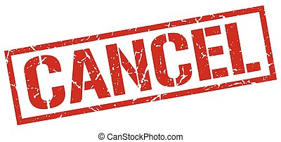 cancel red grunge square vintage rubber stamp