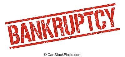 bankruptcy red grunge square vintage rubber stamp